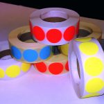 Fluor sticker 27 mm geel