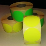 Fluor sticker 50 mm geel