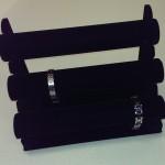 Armband display 3 delig zwart beflokt