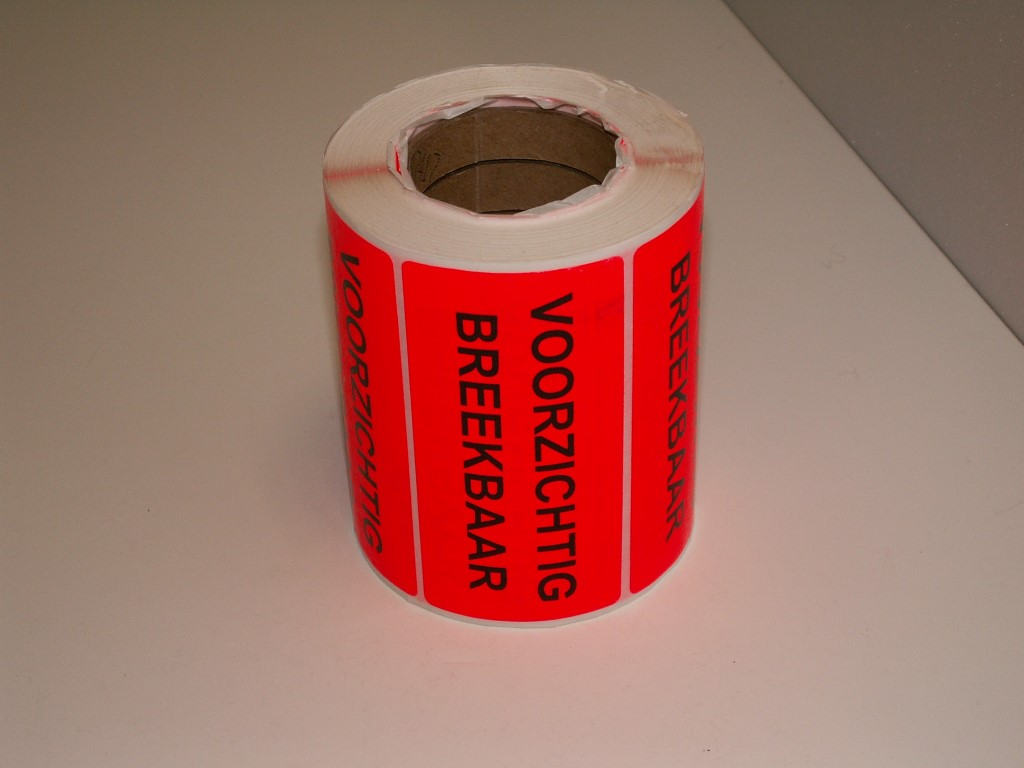 Fluor sticker voorzichtig breekbaar