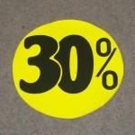 Korting cirkel fluor geel 30