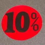 Korting cirkel fluor rood 10