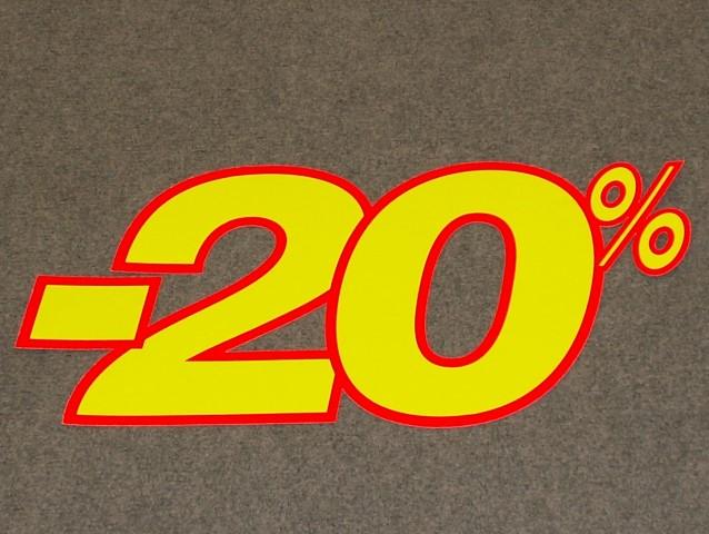 Korting percentage fluor geel rood 20