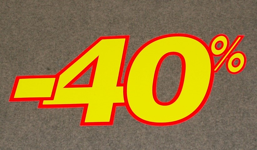 Korting percentage fluor geel rood 40